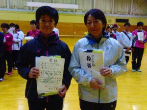 女子B級優勝 小泉まり子・坂部美由紀(女子クラブ・迷球会)ペア